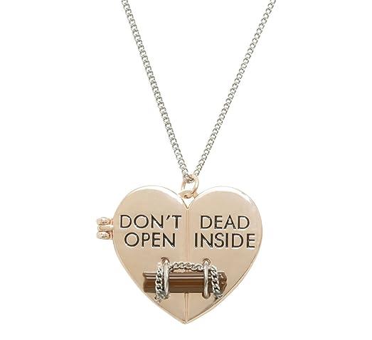 The walking dead dont open dead inside heart pendant necklace the walking dead dont open dead inside heart pendant necklace aloadofball Images
