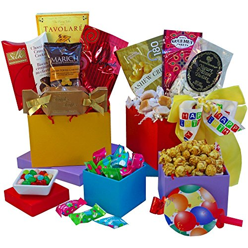Art of Appreciation Gift Baskets Happy Birthday Surprise Gourmet Food and Snacks Gift Tower (Chocolate)