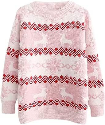 DEBAIJIA Suéter de Mujer Jersey de Niña Señora Punto Grueso Invierno Cachemira Manga Larga Navidad Cuello Redondo Punto Casual Cálido Cómodo Transpirable Suave Apto para La Piel Adecuado Adulta