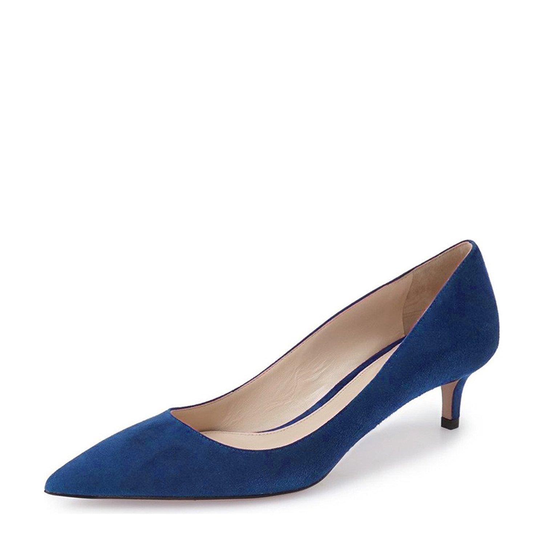 YDN Women Low Kitten Heel Pumps Pointed Toe Dress Shoes for Office Lady Soft Suede Size 9 Dark Blue