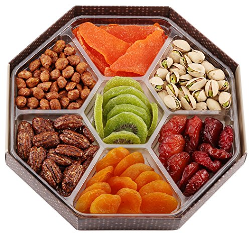 GIVE IT GOURMET,Assorted Dried Fruits and Nuts Gift Basket (7 Section) - Variety of Delicious Dried Mango, Plums, Apricots, Kiwi, Honey Glazed Pecans, Peanuts and Roasted Salted Pistachios