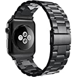 For Apple Watch Strap 38mm, Simpeak Stainless Steel Band Strap for Apple Watch 38mm Series 1 Series 2 Series 3 - Black