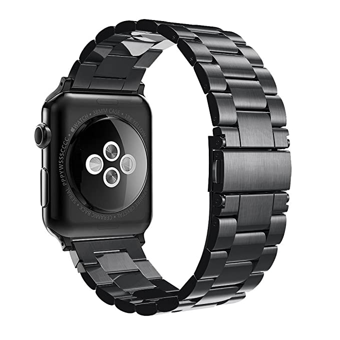 Simpeak Adjustment Stainless Steel Band Strap for Apple Watch 38mm Series 1 Series 2 Series 3 - Black