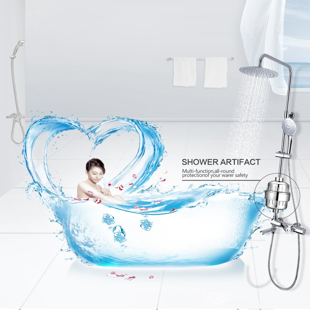Budalga Universal Shower Water Filter With 2PCS Replaceable Multi-Stage Filter Cartridge Chrome Work With Any Shower Head by Budalga (Image #7)