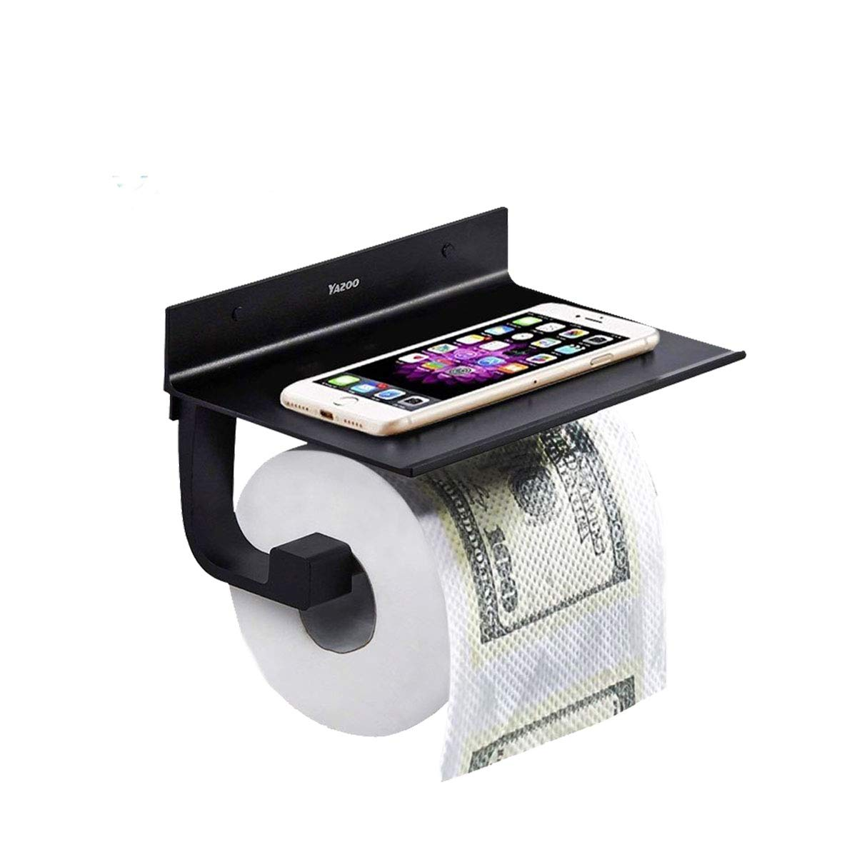 YAZOO Wall Mount Toilet Tissue Paper Holder, SUS304 Stainless Steel Roll Holder with Mobile Phone Storage Shelf Adhesive Bathroom Accessories-Durable Metal in Matte Black