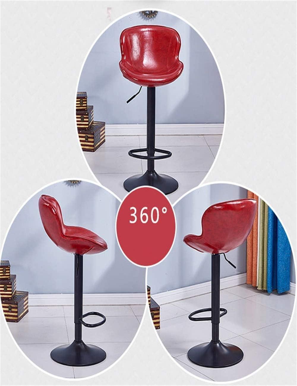 LEBAO-Tabouret de bar Tabouret De Bar Chaise Haute Ascenseur Rotatif avec Dossier Maison Simple (Color : Yellow) Red
