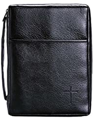 Soft Black Embossed Cross with Front Pocket X-Large Leather Look Bible Cover with Handle