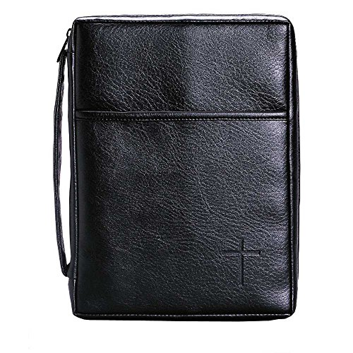 Soft Black Embossed Cross with Front Pocket Large Leather Look Bible Cover with Handle by Dicksons