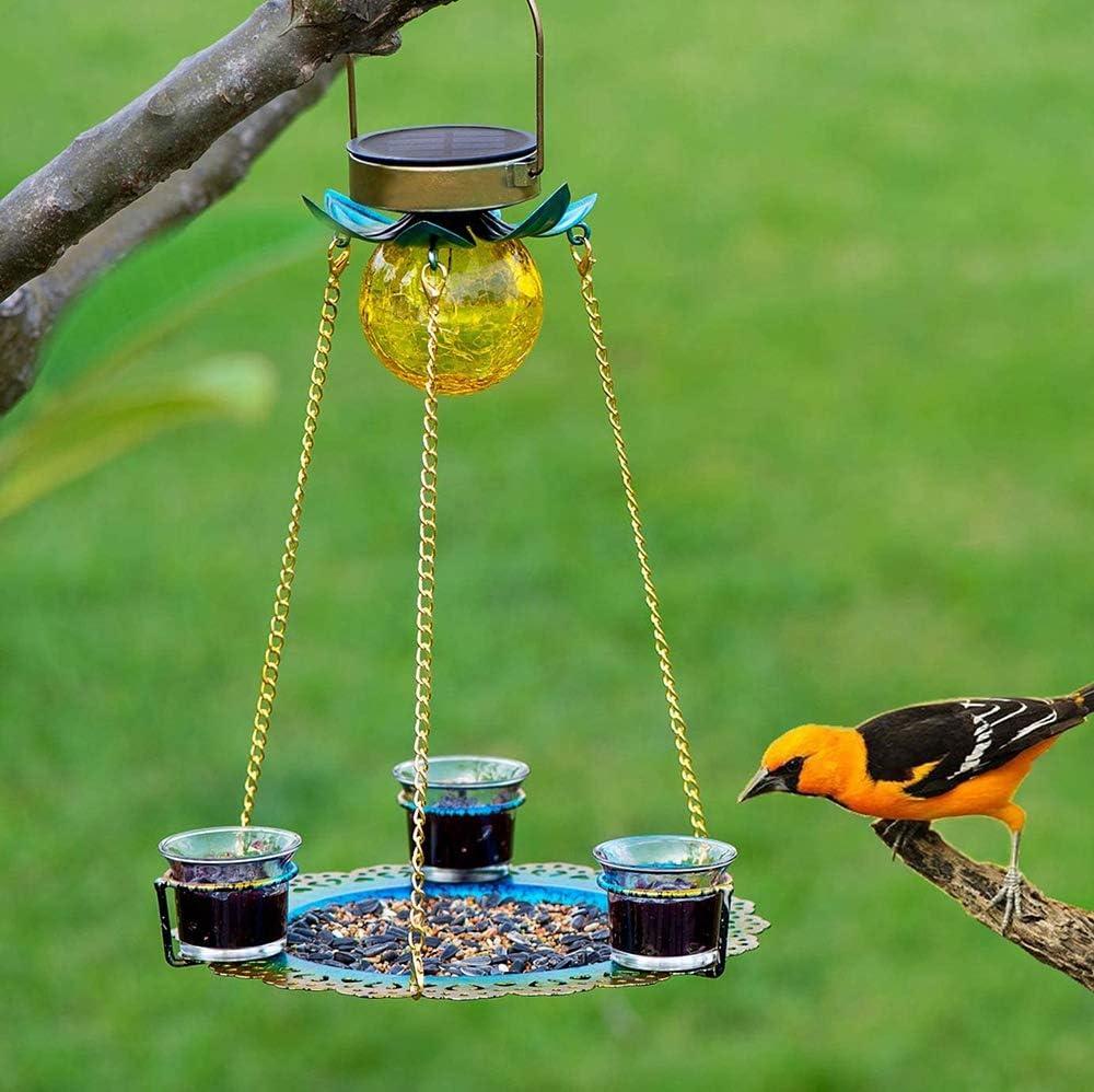 Solar Bird Feeder, 10-Inch Hanging Wild Bird feeders, Seed Tray 3 Cups for Bird Feeders Outdoor Waterproof Birdfeeders as Gift Ideas for Bird Lovers.