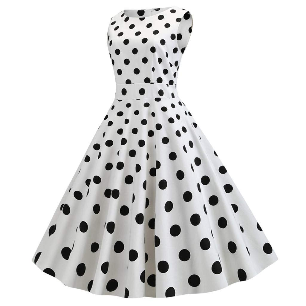 Women Rockabilly Swing Prom Dress 1950s Vintage Dot Print Sleeveless Crew Neck Stretchy Cocktail Evening Party Dress (X-Large, White) by LANTOVI Women Dress (Image #2)