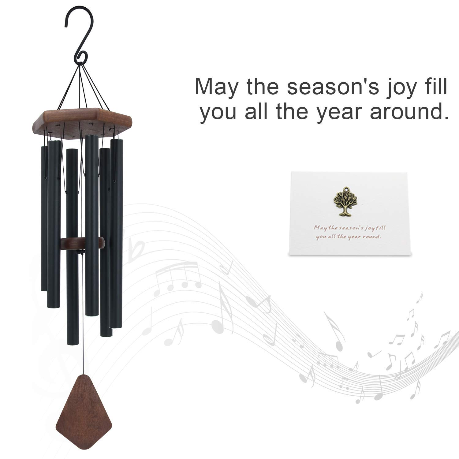 Wind Chimes Outdoor Large Deep Tone, 44 Inch Sympathy Wind Chime Amazing Grace Outdoor, Memorial Wind-Chime with 6 Tuned Tubes, Elegant Chime for Garden, Patio, Balcony and Home Decor, Matte Black by Astarin (Image #5)