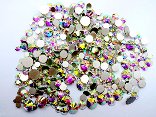 450 pcs 2mm - 6mm Resin Crystal AB round Nail Art Mixed Flatbacks Rhinestones Gems Mix SIZE ~ M1 - 30 [By - Art Gems