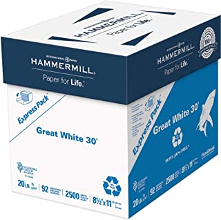product image for Hammermill 67780 Great White Recycled Copy Paper, 92 Brightness, 20lb, 8-1/2 x 11, 2500 Shts/Ctn