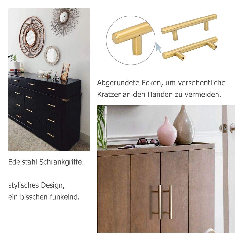 armoire de cuisine et porte Goldenwarm Poign/ée barre en acier inoxydable creux Dor/é Convient pour meuble