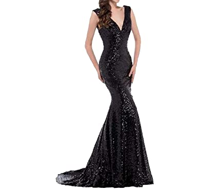 Evening Dress Sequin Evening Gown Deep V Red Golden Prom Dresses Robe De Soiree Longue,