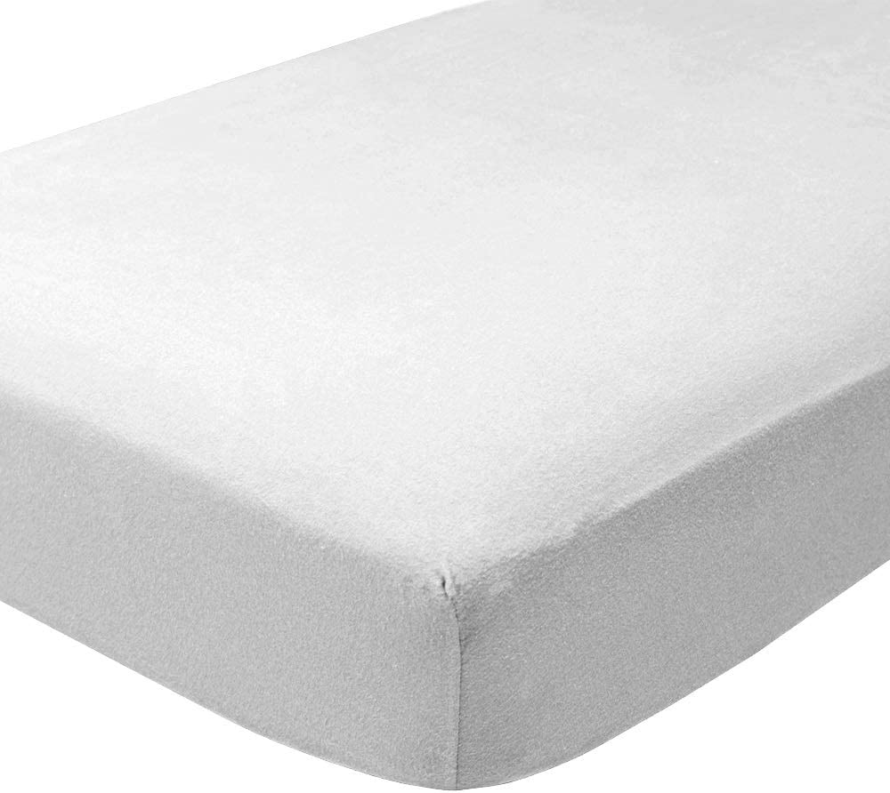 Bare Home Flannel Fitted Bottom Sheet 100% Cotton, Velvety Soft Heavyweight - Double Brushed Flannel - Deep Pocket (Twin XL, White)