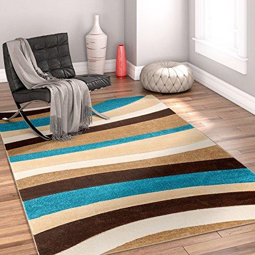 Temptation Waves & Stripes Blue, Beige, Brown Modern 6x9 7x9 ( 6'7