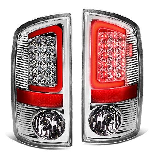 Chrome Brake Light - For 07-09 Dodge Ram Pickup 3rd Gen Pair of 3D Red LED Bar Chrome Housing Clear Lens Brake Tail Lights