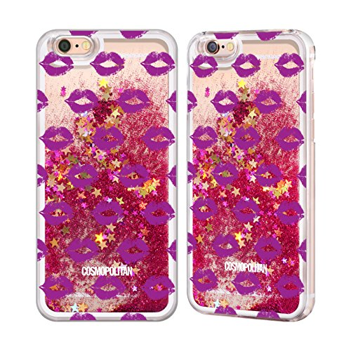 Official Cosmopolitan Purple Kiss Mark Hot Pink Liquid Glitter Case Cover for Apple iPhone 6 / 6s