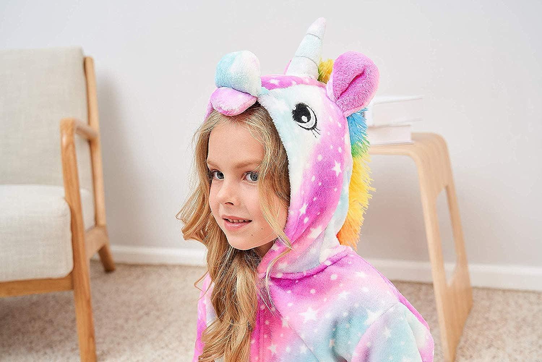 Ksnnrsng Accappatoio Bambini Morbido Cappuccio Tunica di Unicorno Vello Animale Pigiameria Unisex Regali di Unicorno per Ragazze