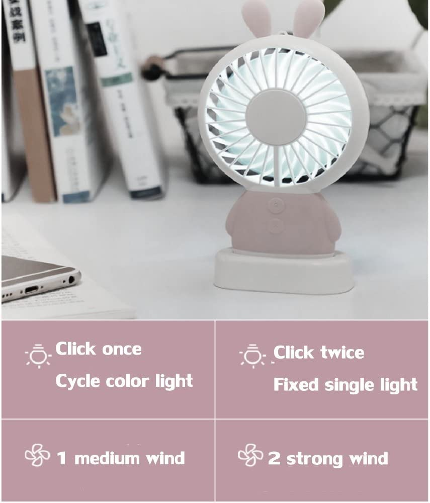 H 15x8.6x2.2cm DULPLAY Mini USB FAN,Personal FAN,Mini handheld FAN,Led lights Student dormitory Cartoon USB rechargeable Quiet Office home Summer Outside 6x3x1inch