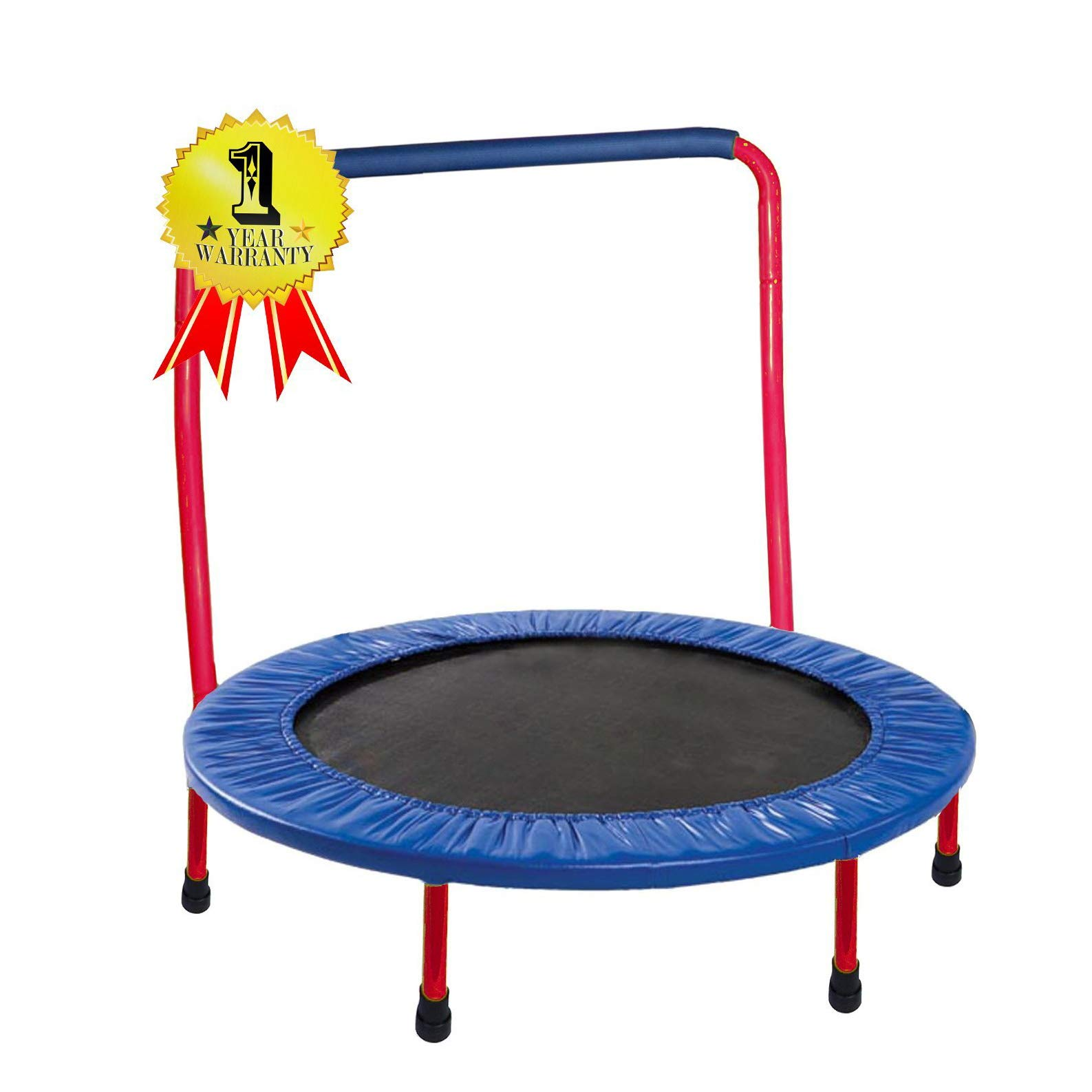 JumJoe Kids Trampoline - 36 inch, with Handle Bar, Safety, Portable - 1 Year Warranty (Red) with Safety Pad
