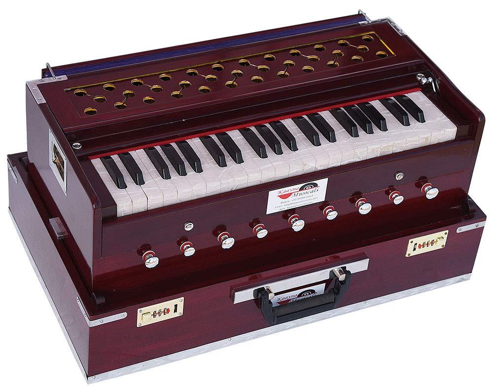 Harmonium Traveler/Portable/Folding Type By Kaayna Musicals, 9 Stops- 5 Main & 4 Drone, 3½ Octaves, Coupler, Dark Colour, Gig Bag, Bass-Male Reed - 440 Hz, Suitable for Yoga, Bhajan, Kirtan, Mantra by Kaayna Musicals (Image #5)