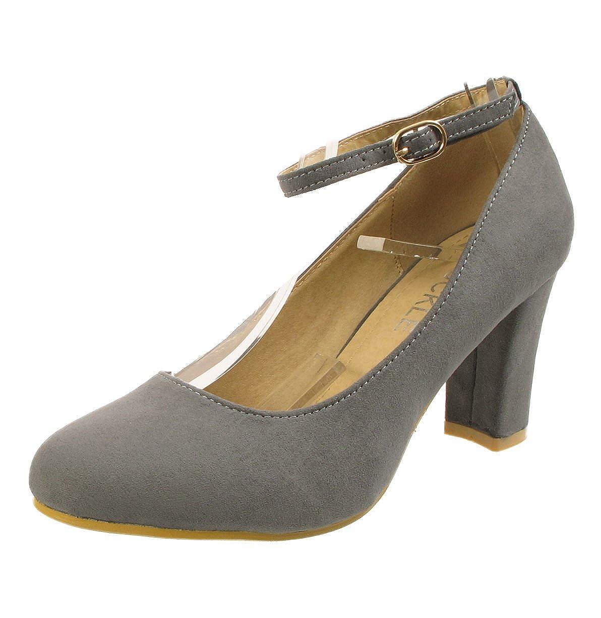Womens Ladies Block Heel Ankle Strap Work Court Evening Dress Girls Shoes Pumps UK Size 3-12