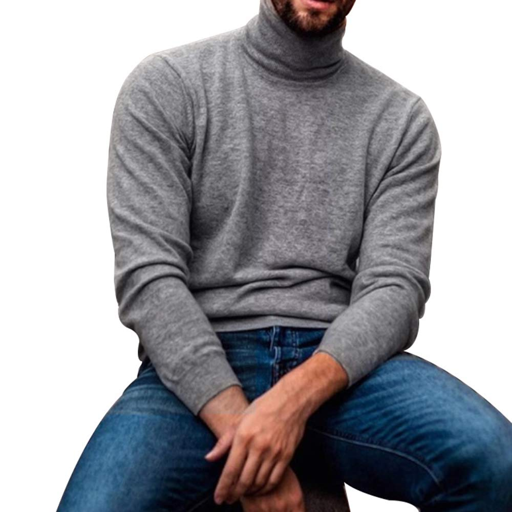 Maglione Dolcevita Uomo Autunno Inverno Camicie Basic in Puro Colore Caldo Casual Casual Maglieria Sottile Magliette di Grandi Dimensioni