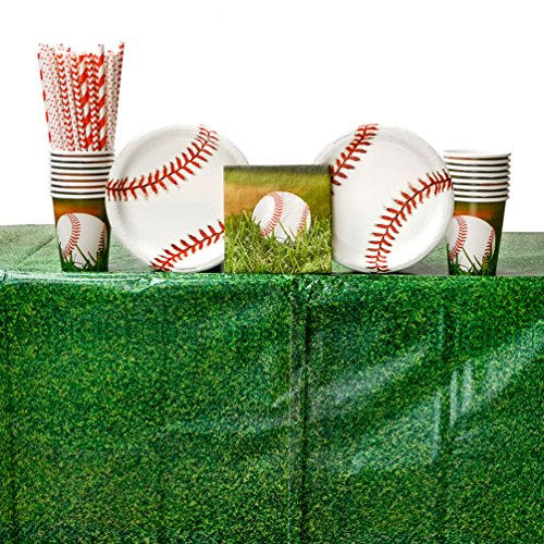 Sports Fanatic Baseball Birthday Party Supplies Pack for 16 Guests: Straws, Dessert Plates, Beverage Napkins, Table Cover, and Cups]()