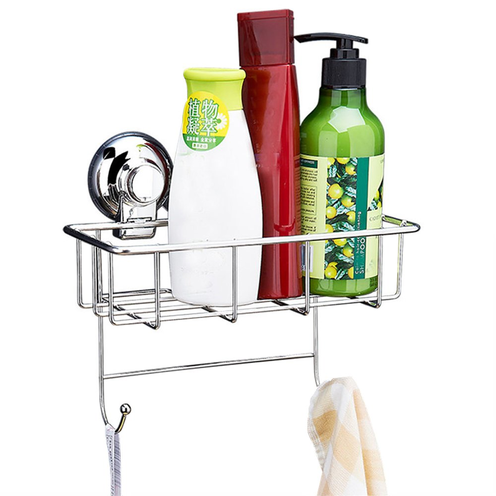 AIYoo Shower Caddy 304 Stainless Steel Powerful Vacuum Suction Cups Combo Organizer Basket with Towel Hooks Storage Organizer Shelf for Kitchen & Bathroom Accessories Soap Shampoo Conditioner Holder