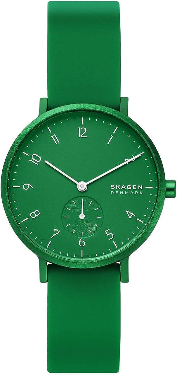 SKAGEN Aaren Kulor Reloj de Cuarzo analógico con Correa de Silicona Verde para Mujer SKW2804