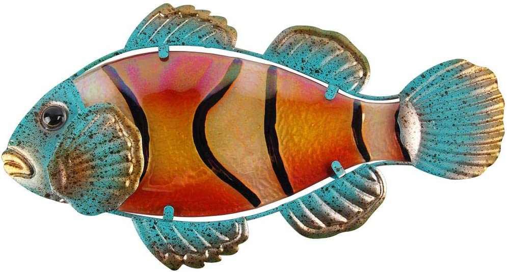 Liffy Metal Fish Wall Art Bathroom Nautical Decor Outdoor Tropical Clownfish Hanging Decorations for Pool or Patio
