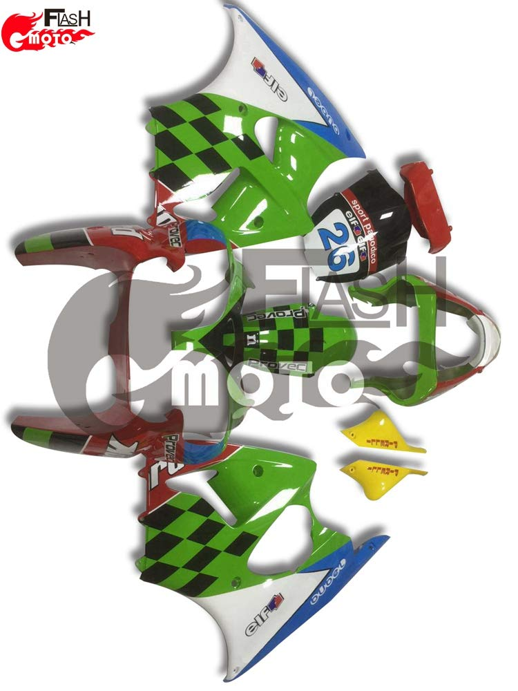 FlashMoto kawasaki 川崎 カワサキ ZX6R ZX-6R 2000 2001 2002用フェアリング 塗装済 オートバイ用射出成型ABS樹脂ボディワークのフェアリングキットセット (グリーン,レッド)   B07L89CJ2H