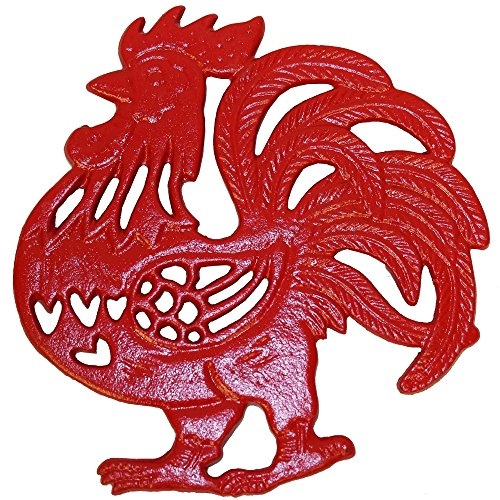Rustic Country Red Rooster Trivet - Cast Iron - Wall Hanging or Counter Top (Wall Rooster Hanging)