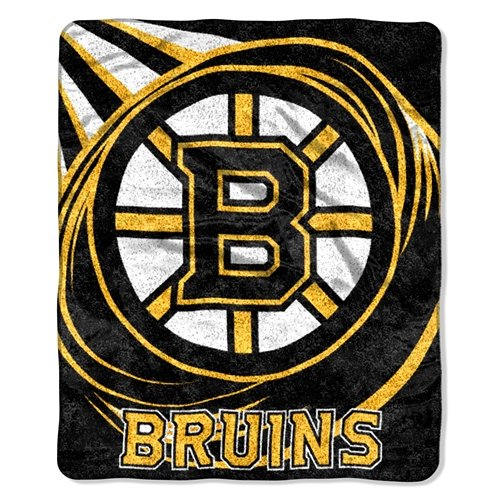 (The Northwest Company Officially Licensed NHL Boston Bruins Puck Sherpa on Sherpa Throw Blanket, 50