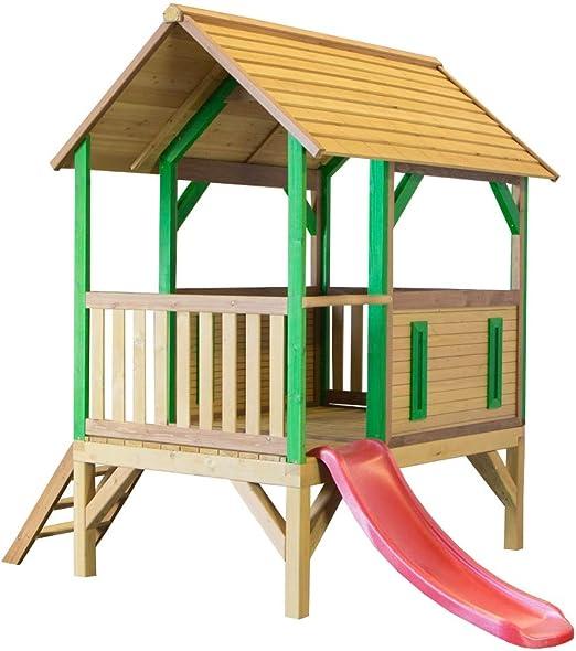 Beauty.Scouts – Casa de juegos de madera con porche + escalera + tobogán Tyron 172 x 287 x 231 cm de madera de cedro marrón para niños: Amazon.es: Jardín
