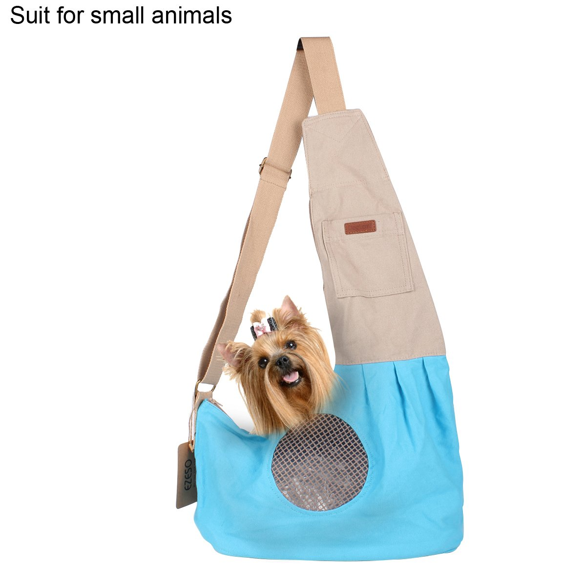Ezeso Pet Dog Cat Sling Carrier Bag Shoulder Hands Free Adjustable Carry Bag with Extra Pocket for Puppy Small Animals (Blue)