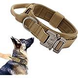 Tactical Dog Collar Military Dog Collar Adjustable Nylon Dog Collar Heavy Duty Metal Buckle with Handle for Dog Training ( Br