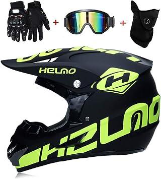 LEENY Adulto Motocross Cascos de Motos con Gafas Máscara Guantes ...