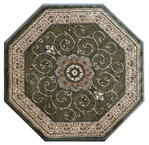 Traditional Octagon Area Rug Design 404 Green (4 Feet X 4 Feet) Octagon ()