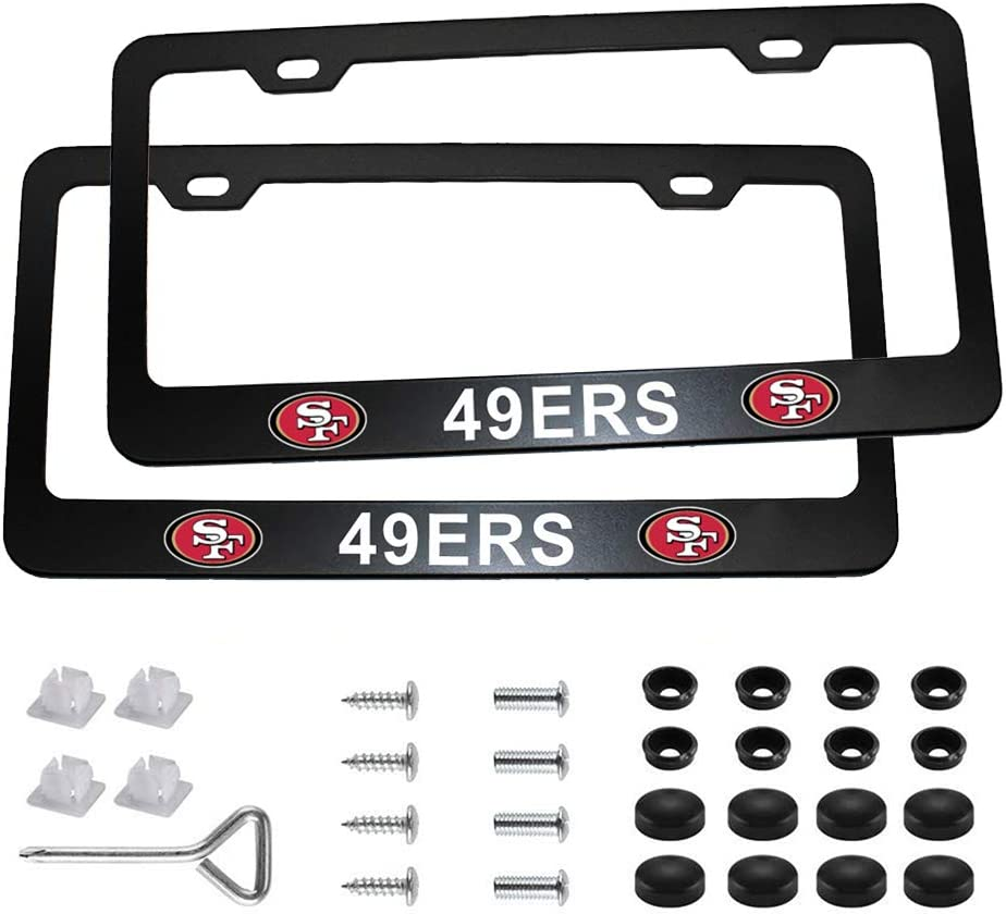 Wall Stickz AutoParts 2pcs License Plate Frames with NFL Emblem Stainless Steel Frame Fit US Standard Cars License Plate Green Bay Packers