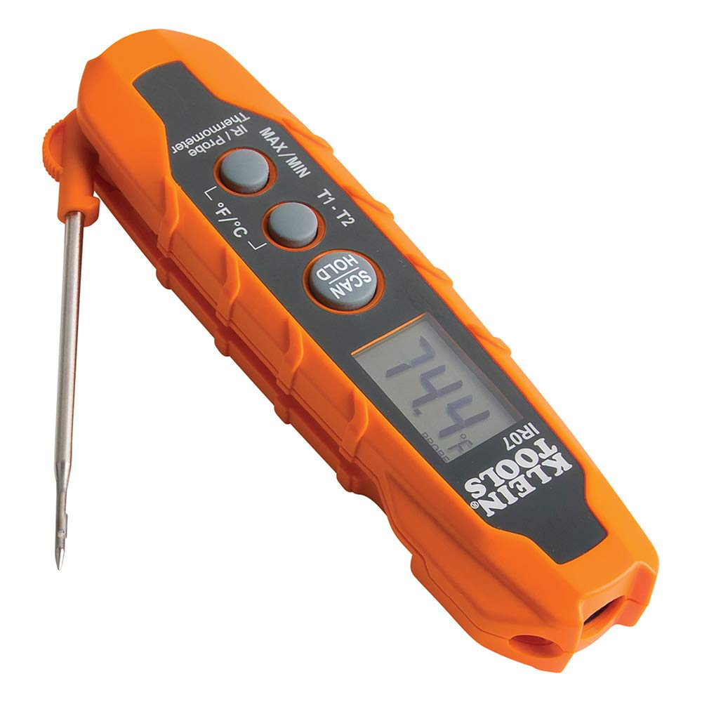Klein Tools IR07 Dual Infrared (IR) and Probe Pocket Size LCD Digital Thermometer by Klein Tools