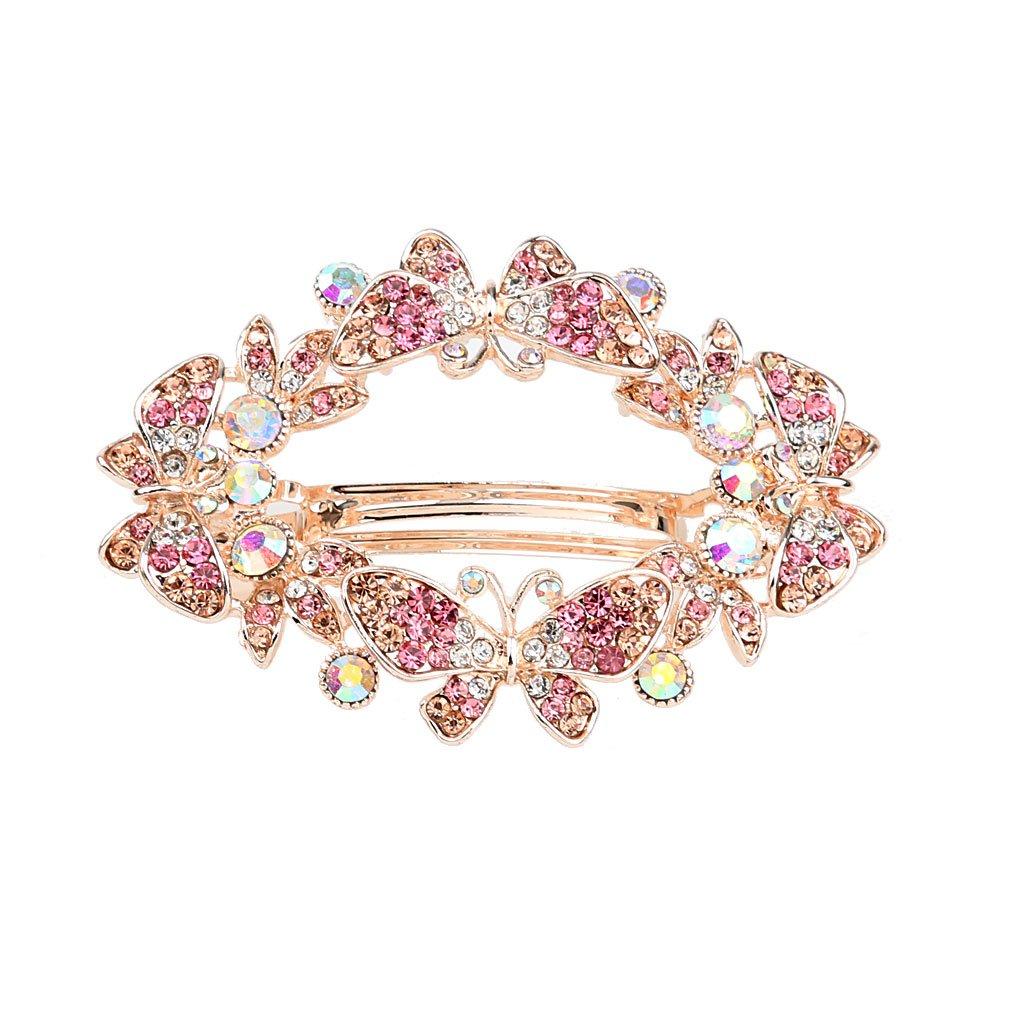 Women's Wedding Butterfly Style Crystal Rhinestone Wedding Spring Hair Clip Hair Pin Barrette Bridal Accessory(Choose color) - Purple MagiDeal STK0156003355