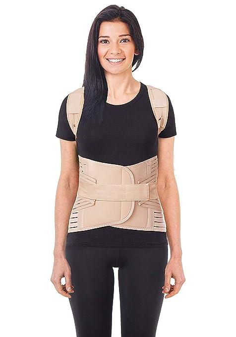 Corrector Postura y Soporte para Espalda respiratorio- corrección de postura-Apoyo a La Columna Vertebral- Cinturón Para Alivio del Dolor de Espalda LUX ...