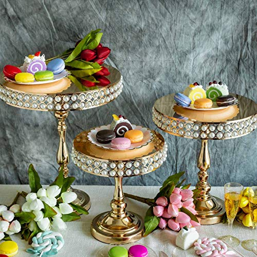Pearl Wedding Cake - Efavormart Set of 3 Gold Pearl Embellished Wedding Cake Stand Centerpiece Risers Tabletop Decoration
