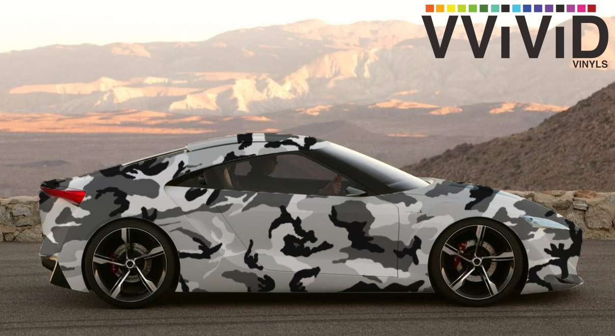 3ft x 5ft VViViD Snow Camouflage Vinyl Car Wrap Adhesive Decal DIY Air Release Roll
