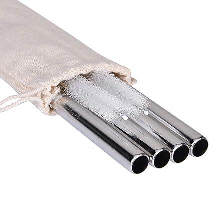 Littlegood Extra Wide Stainless Steel Reusable Straws 1/2