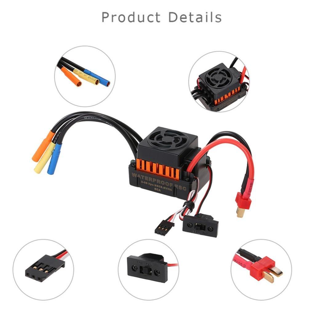 Fenteer 60A Bürstenloser ESC Speed Controller Elektrischer Geschwindigkeitsregler 1/10 für 1/10 Geschwindigkeitsregler Rc Autoteile 935992
