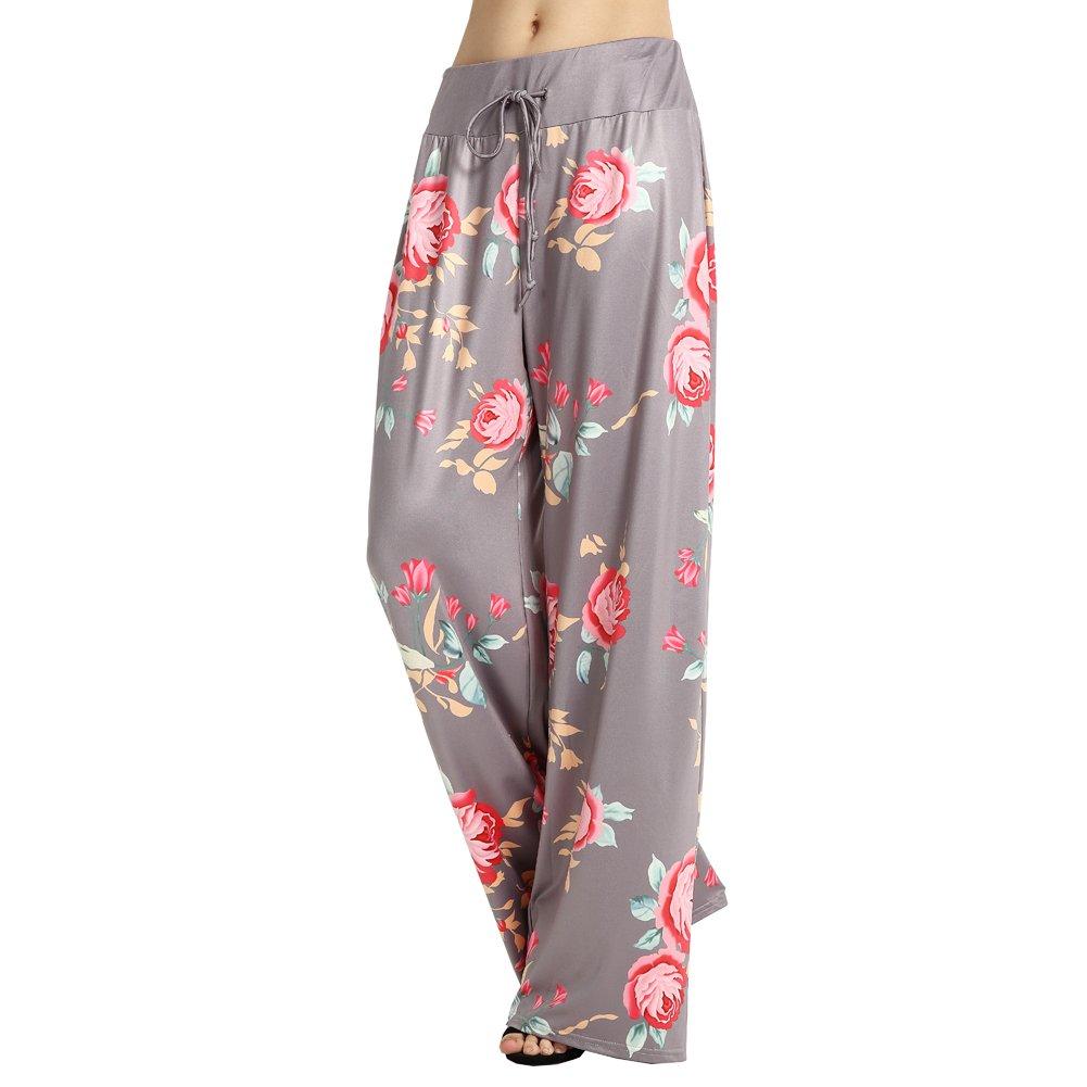 b69109c1ba5 Ensasa Women s Wide Leg Pants Drawstring High Waist Floral Printed Black  Casual Loose Yoga Pants at Amazon Women s Clothing store